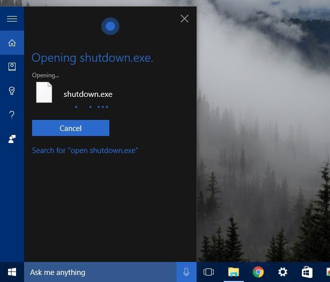 cortana windows shut down