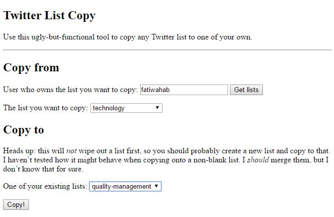 Twitter List Copy -Import