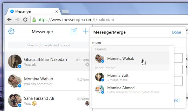 Messenger Merge add