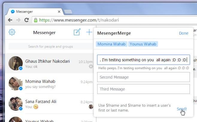 Messenger Merge message