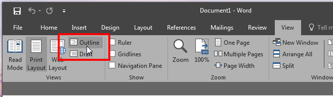 ms word outline-view