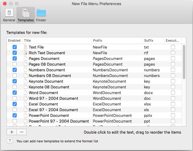 new file menu-temp