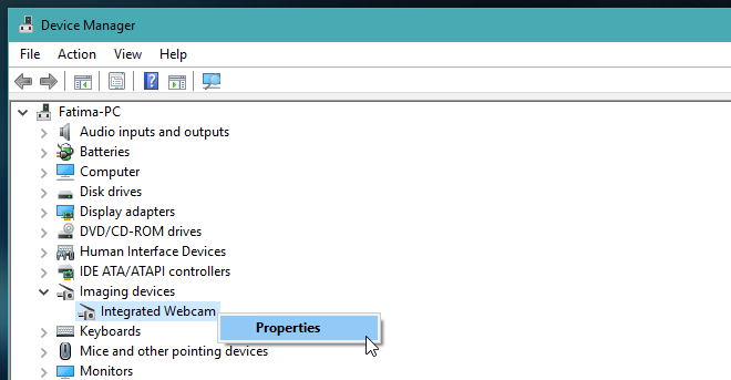 device manager - webcam