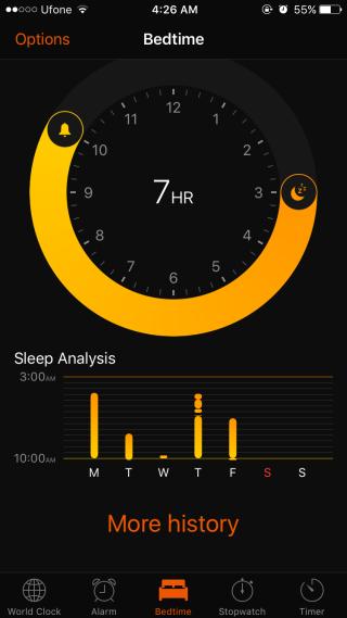 bedtime history ios 10
