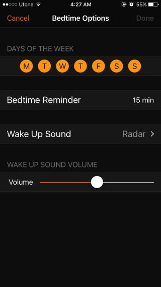 bedtime options ios 10