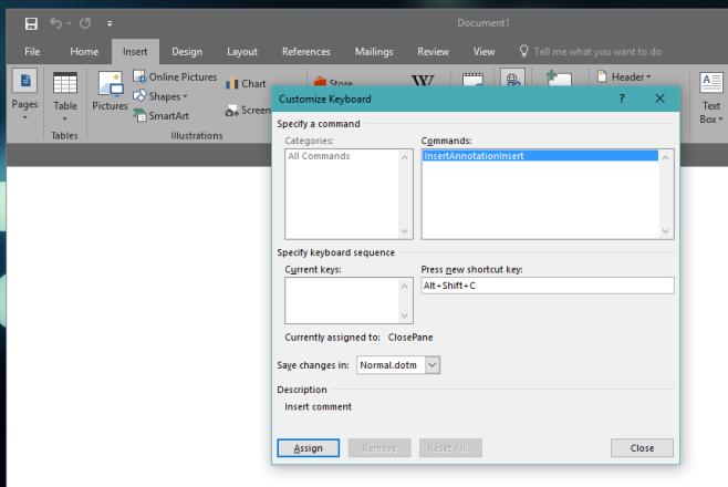 keyboard shortcut ms word