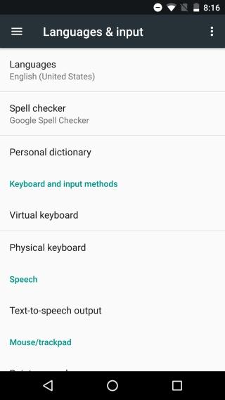 settings language input