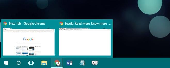taskbar hover preview