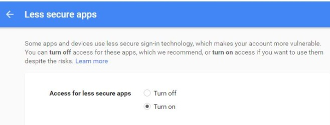 Less secure apps - gmail