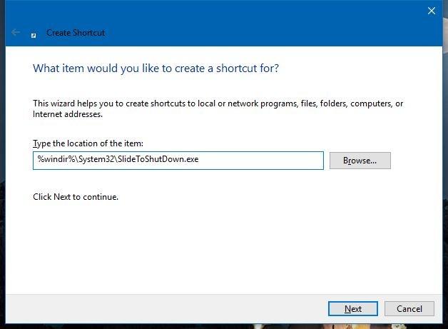 slide to shutdown shortcut