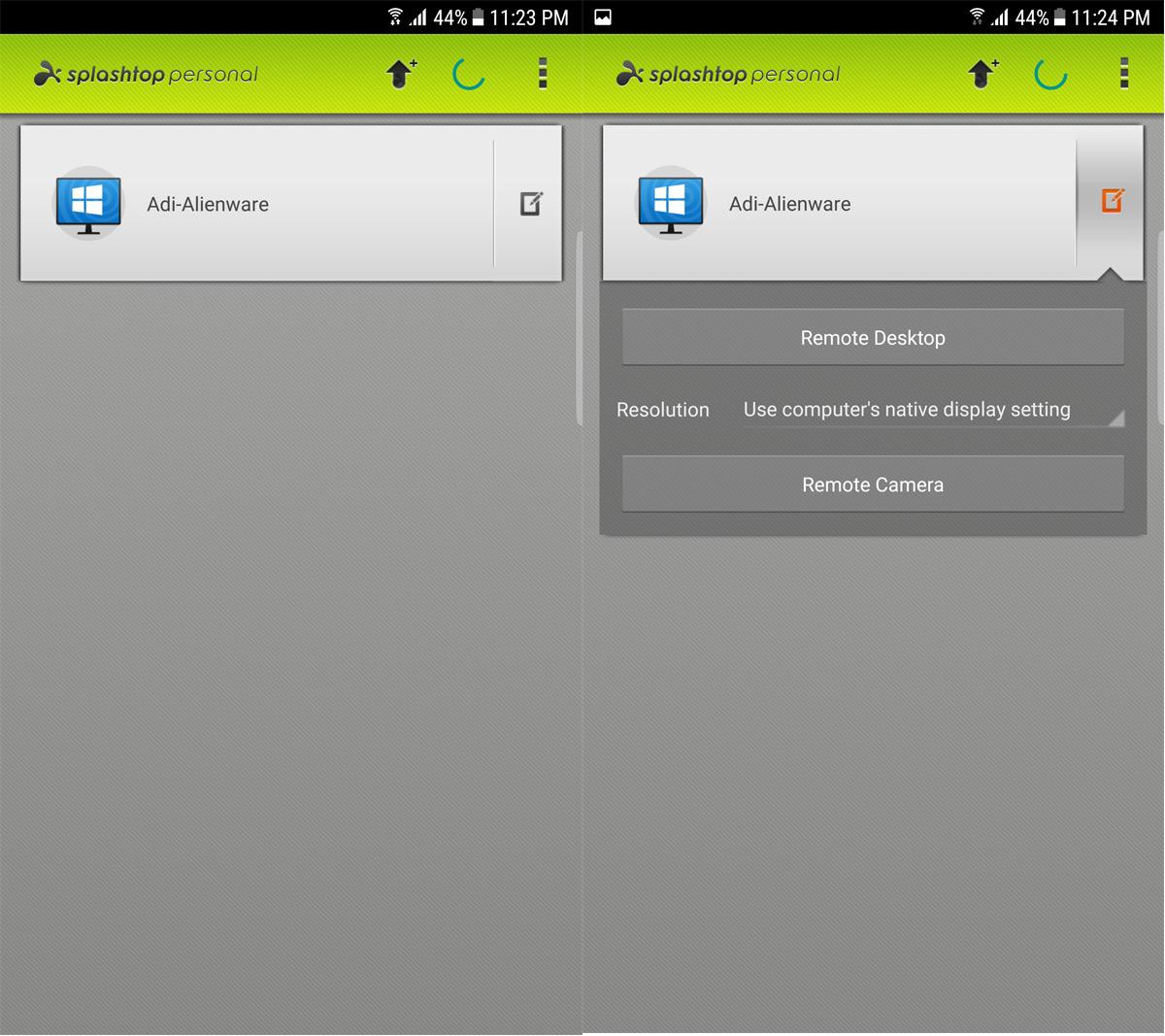 Splashtop Android App Window