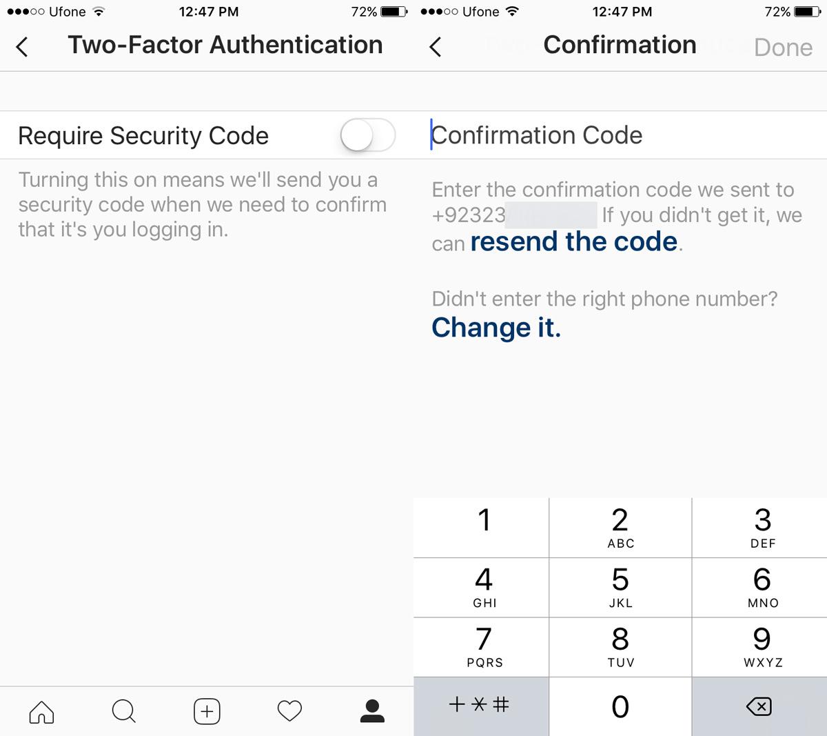 instagram require security code