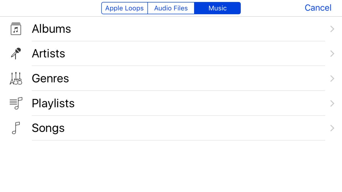 GarageBand select music