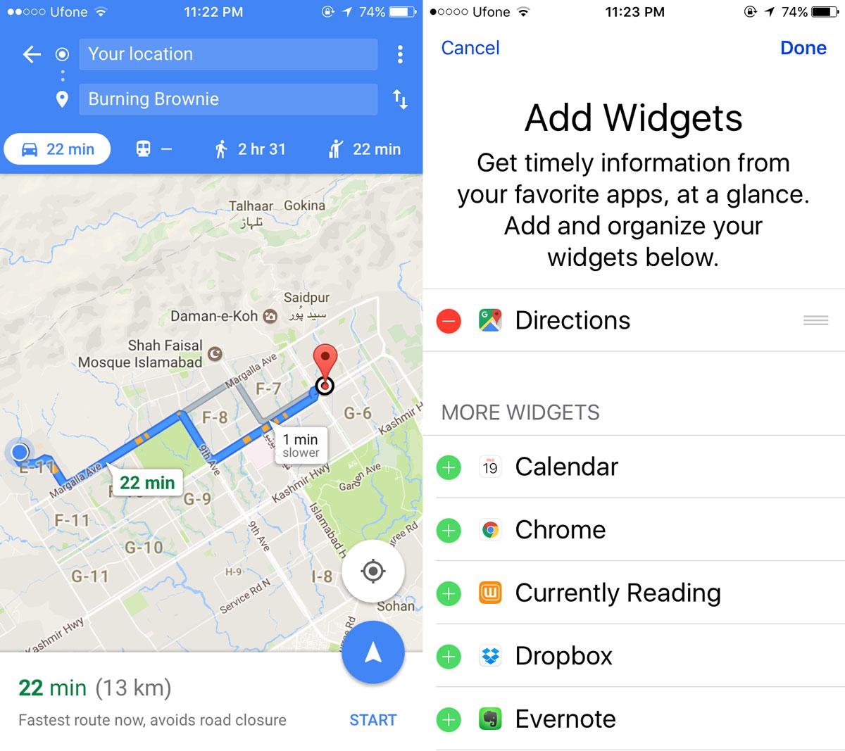 google maps ios widget