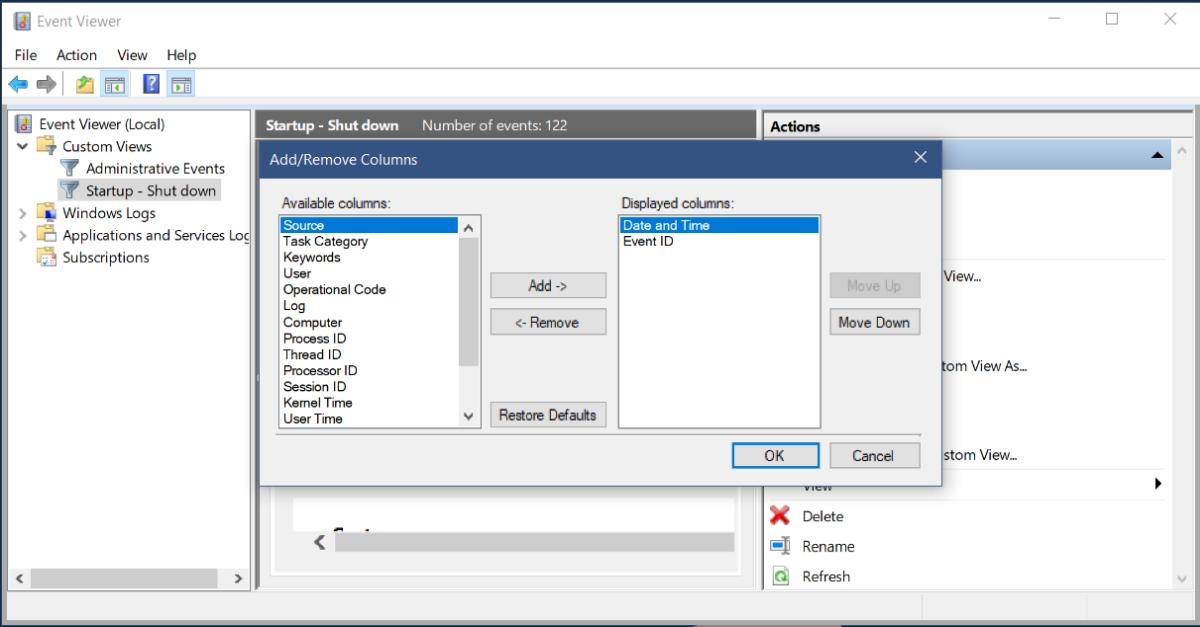 add remove columns event viewer