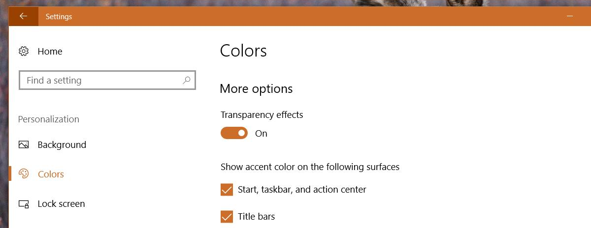 transparency off windows 10