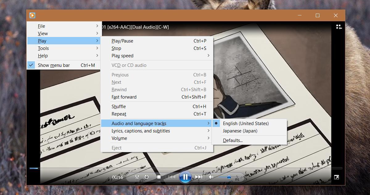 windows media player audio track