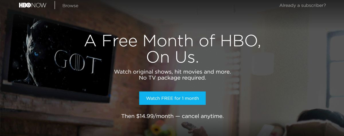 Free month of HBO service, including Game of Thrones