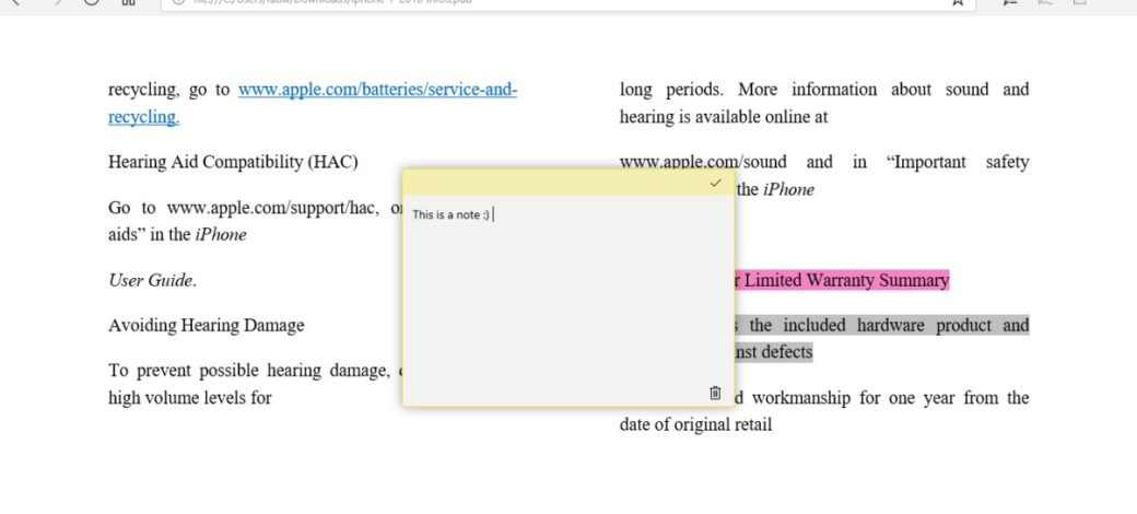 How To Highlight Text And Add Notes To ePub Files In Microsoft Edge