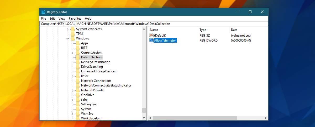 windows registry telemetry
