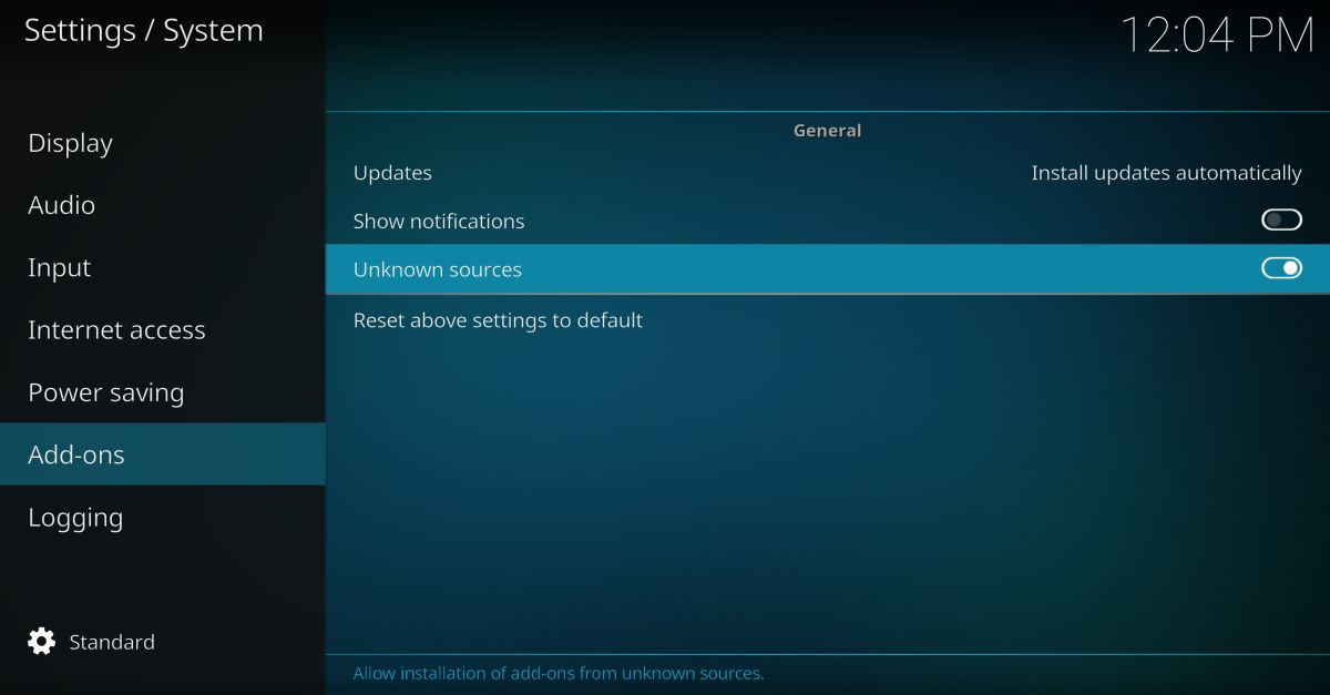 Allow unknown sources add-ons on Kodi