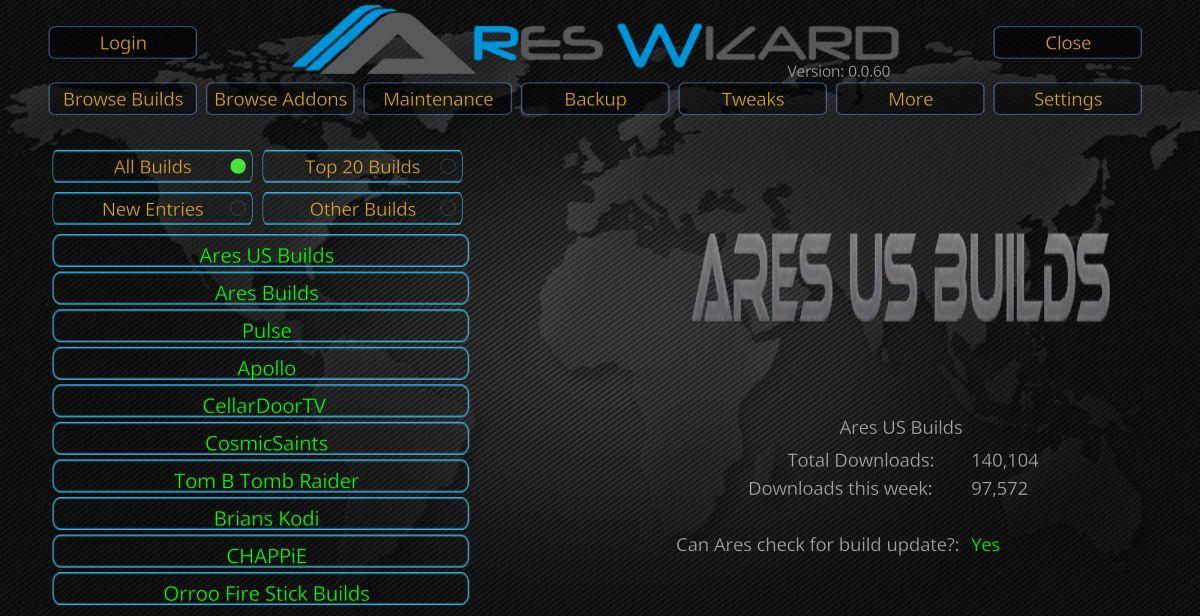 Ares Wizzard program add-on for Kodi