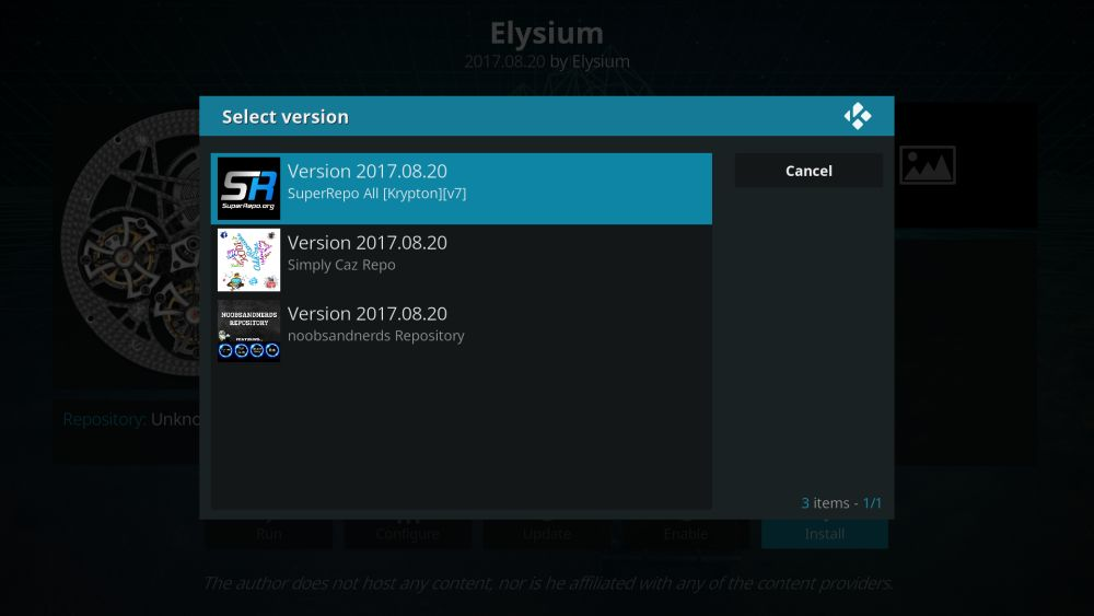 Choose the repository to install Elysium from
