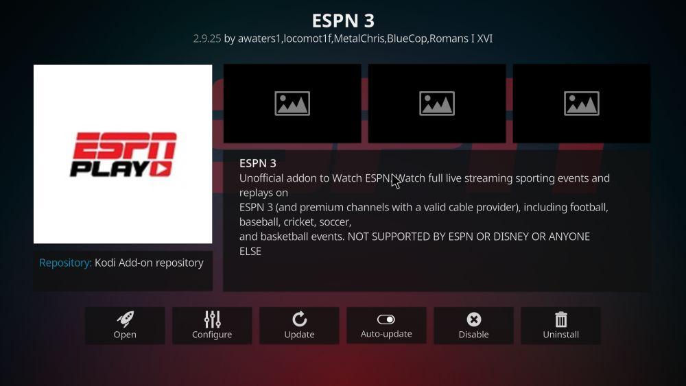 ESPN 3 Kodi add-on – install guide