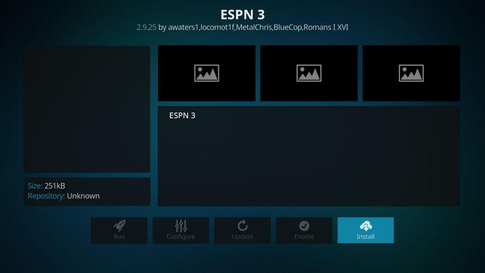 ESPN 3 Kodi add-on