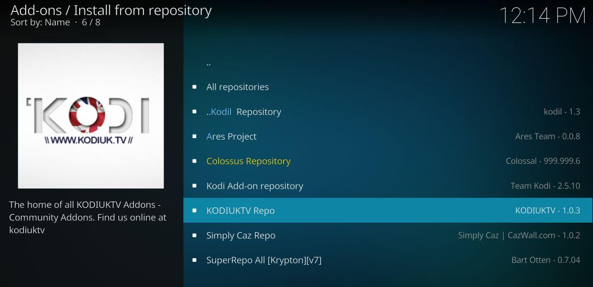 Install the KodiUK repository on Kodi