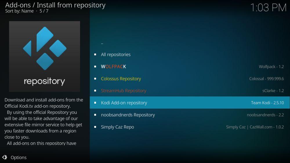 Kodi add-on repository install