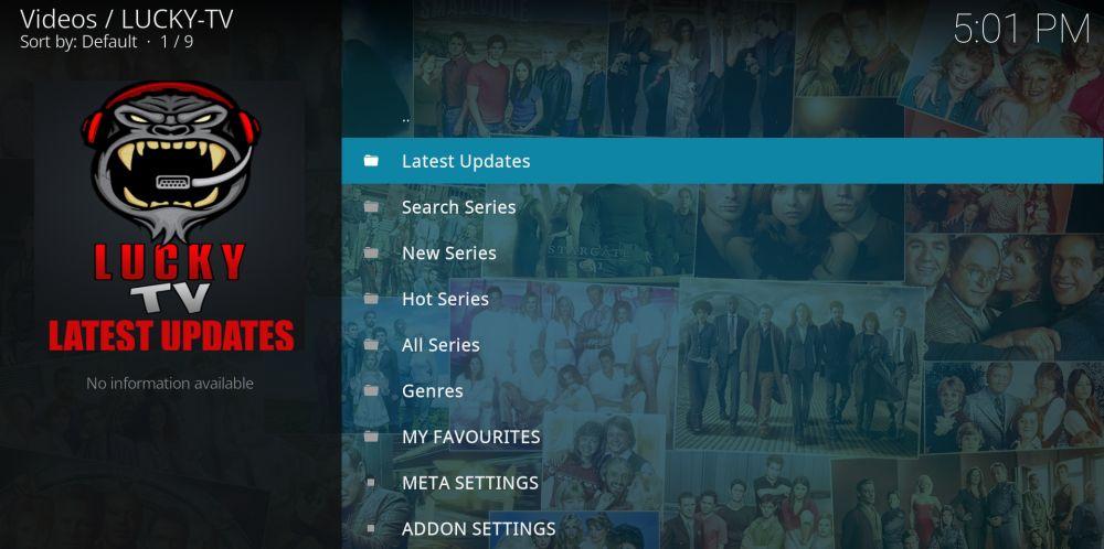 LuckyTV Kodi add-on interface