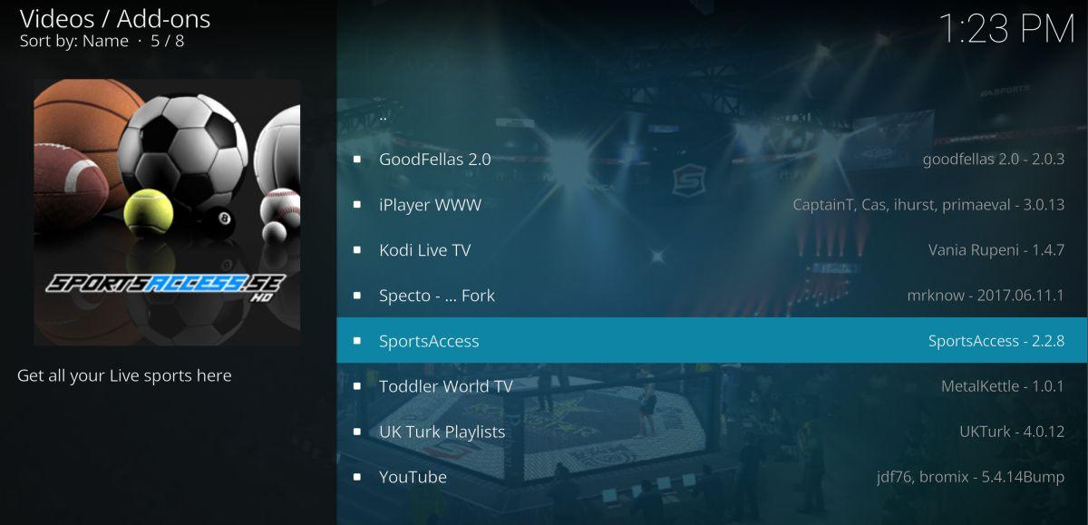 SportsAccess for watching UFC on Kodi