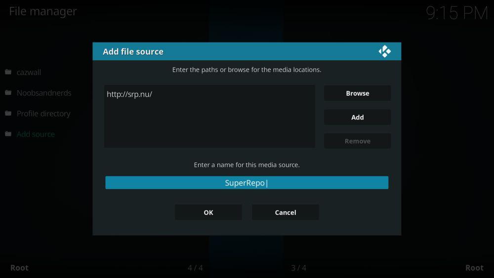SuperRepo repository for Kodi – add media source