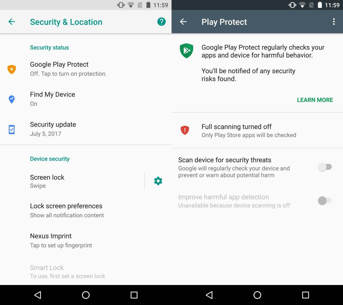 google play protect enable