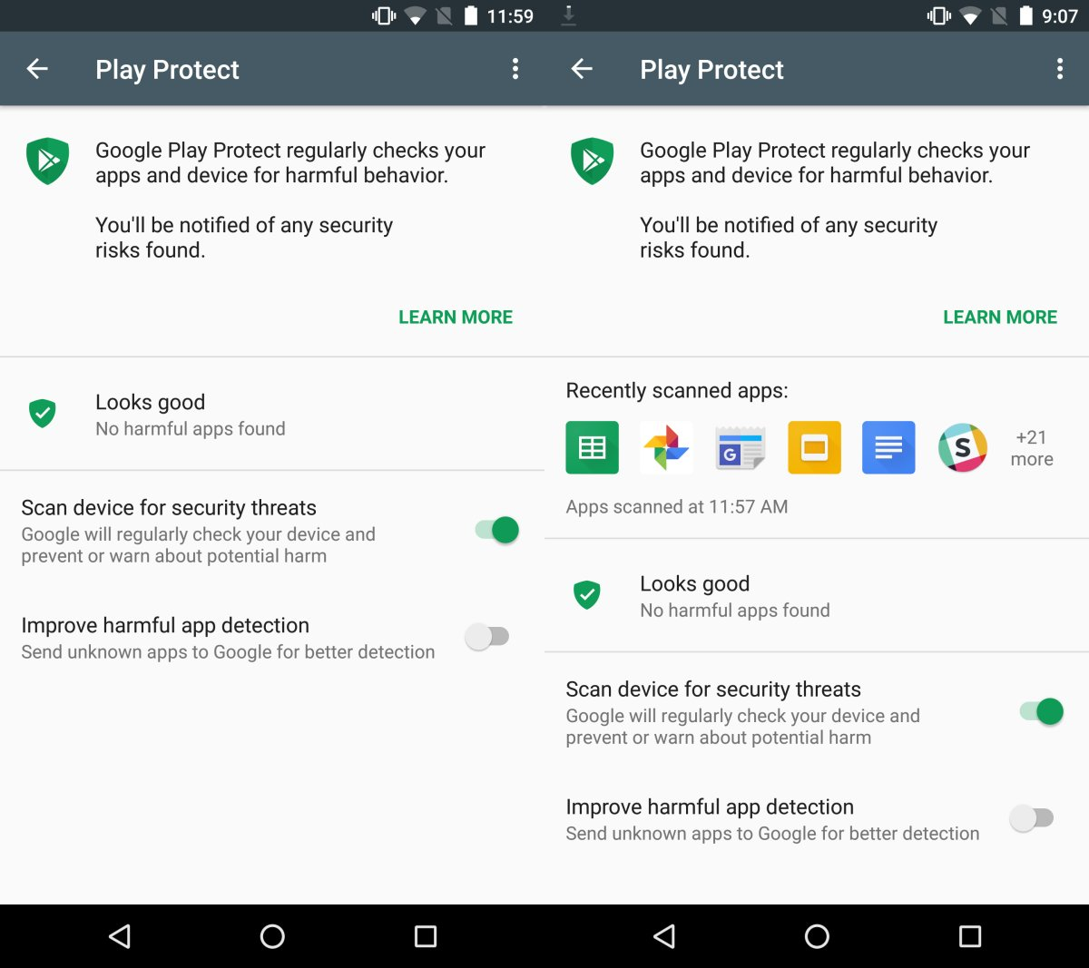 google play protect scan