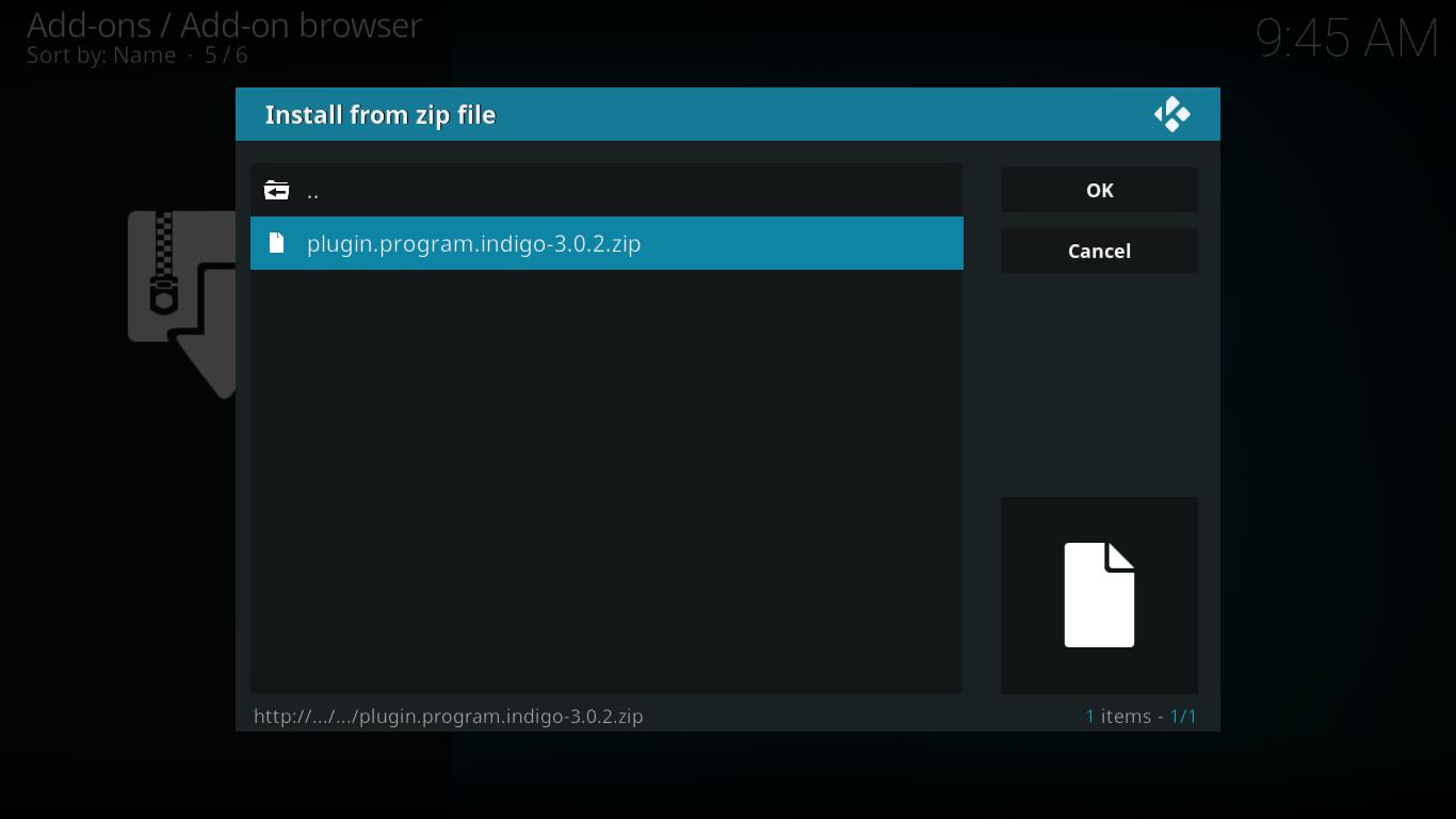 Indigo Zip File Selection