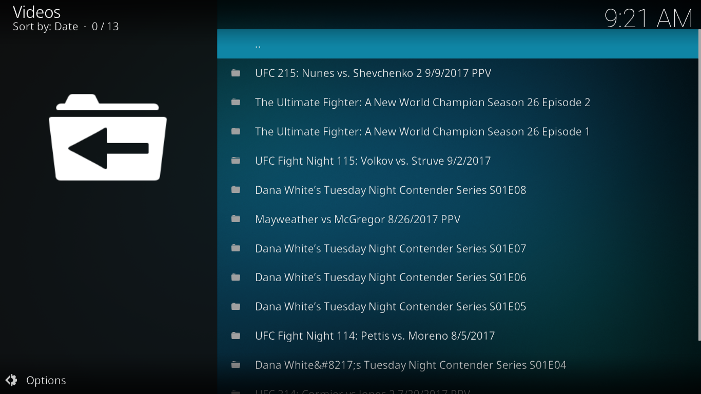 UFC Menu