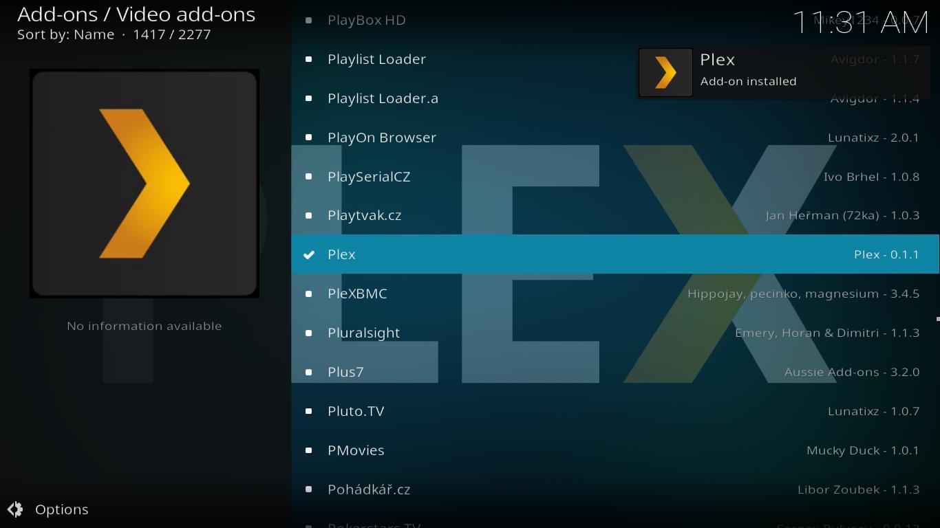 Plex add-on successful installation