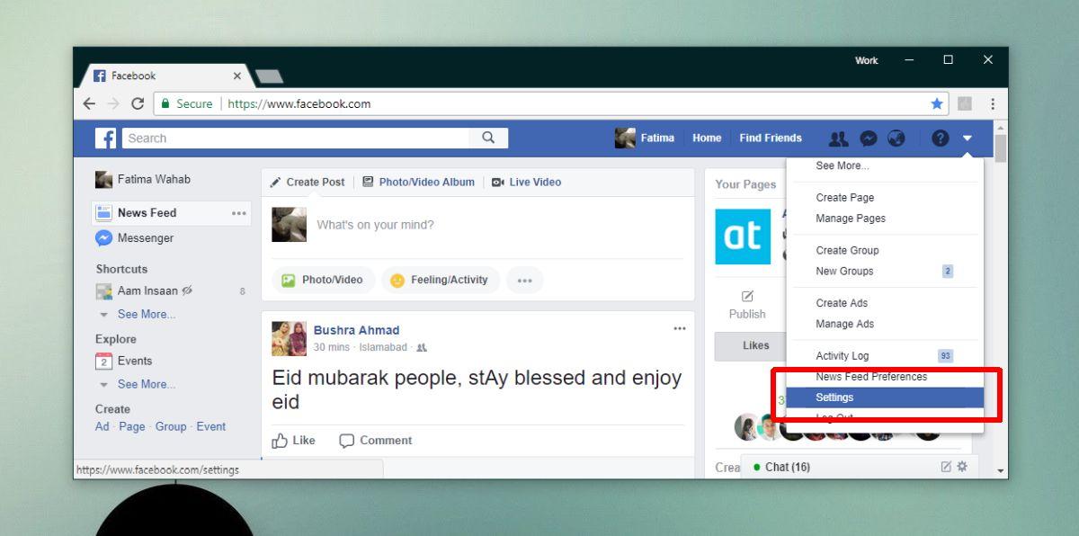 FB web settings