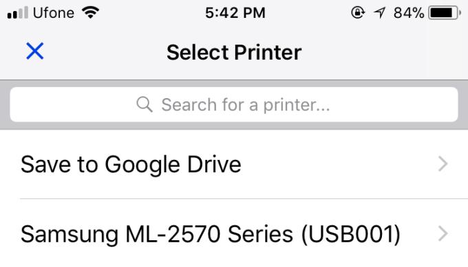 gmail select printer