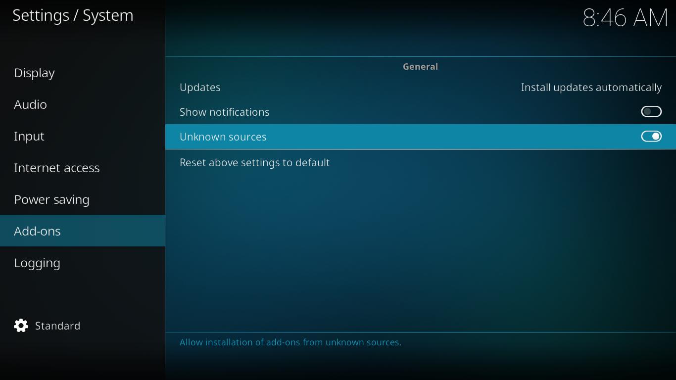 Add-ons settings