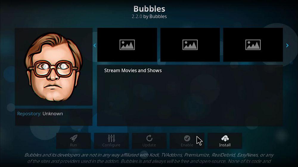 Bubbles Kodi addon for Kodi 17.6