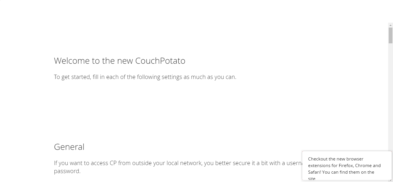 Couchpotatp Initial config