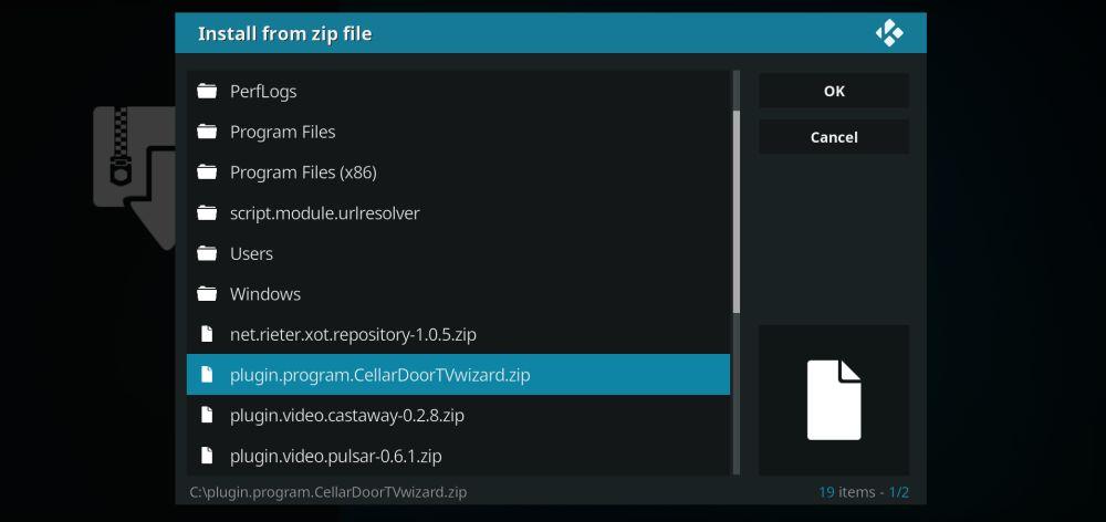 Install Cellar Door Kodi build from ZIP file