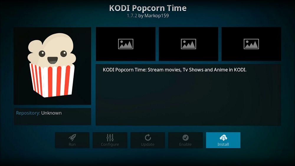 Install Popcorn Time Kodi addon