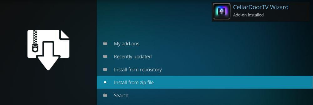 Install from ZIP file – CellarDoor Kodi build