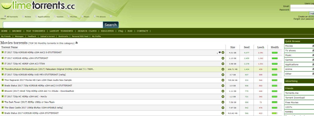 LimeTorrents – Best Torrenting Sites of 2017
