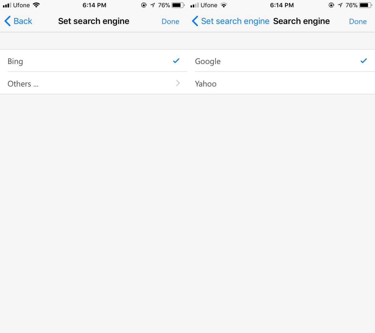 Microsoft Edge Preview search engine
