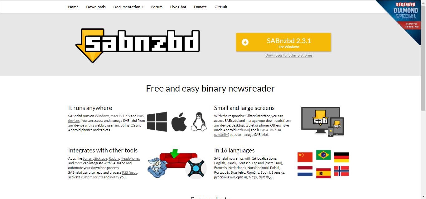 SABnzbd Homepage